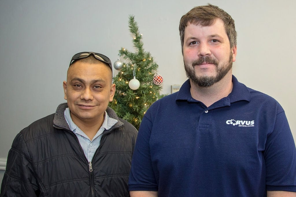 Corvus team members at a Holiday party