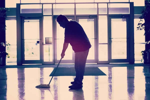 janitor cleaning a facility