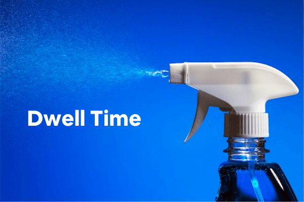 Dwell time (text) and spray bottle (image)
