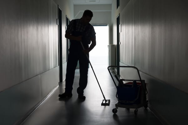 janitor cleaning floor