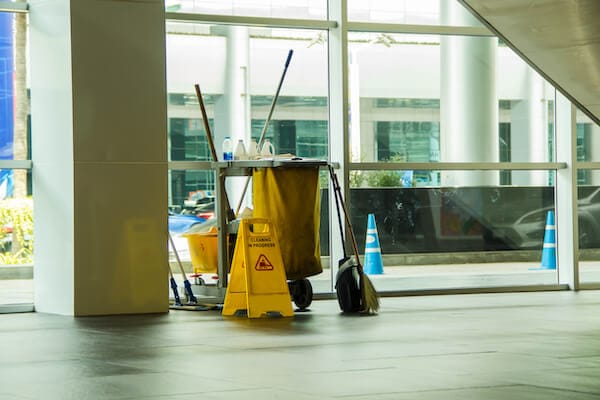 cleaning service caddy in entry way