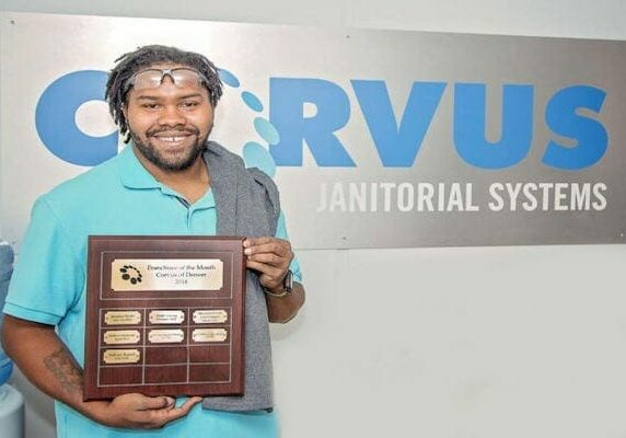 Successful Franchise owner receiving award